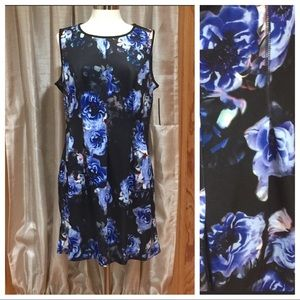Apt 9 Scuba Fit and Flare Blue Floral Dress XL NWT